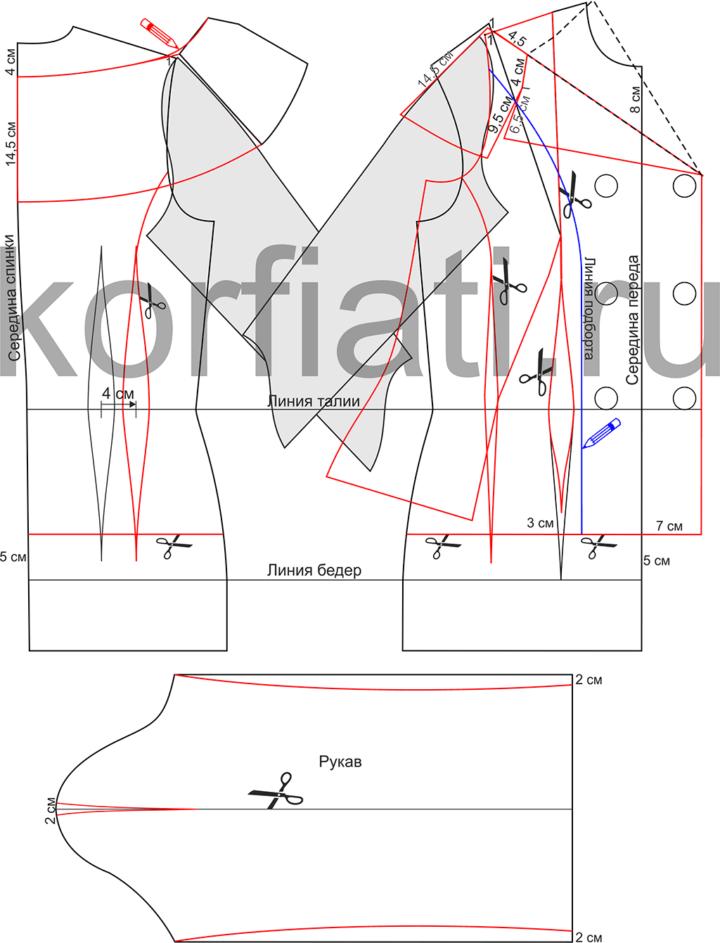 Моделирование спинки и полочки приталенного жакета