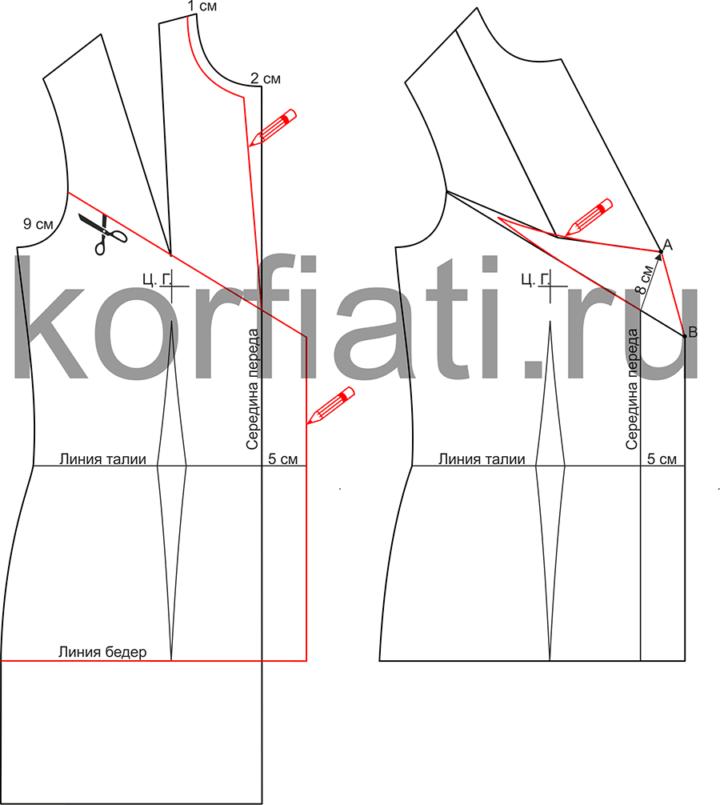Моделирование жакета со складкой-вытачкой - выкройка