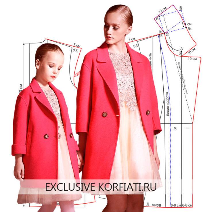 Выкройка укороченного пальто для мамы и дочки