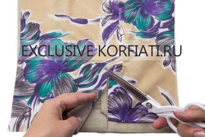 Обработка шлицы двухшовного рукава конвертом