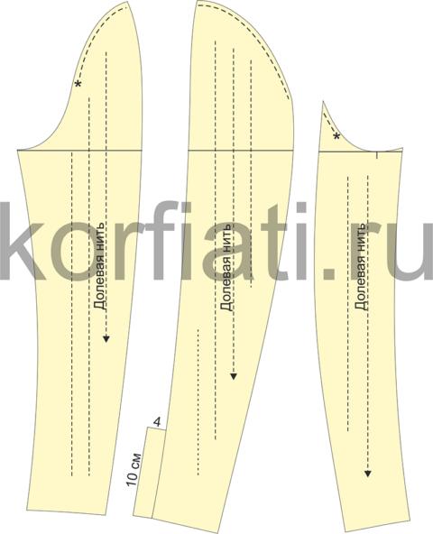 Детали кроя трехшовного рукава к жакету с рельефами