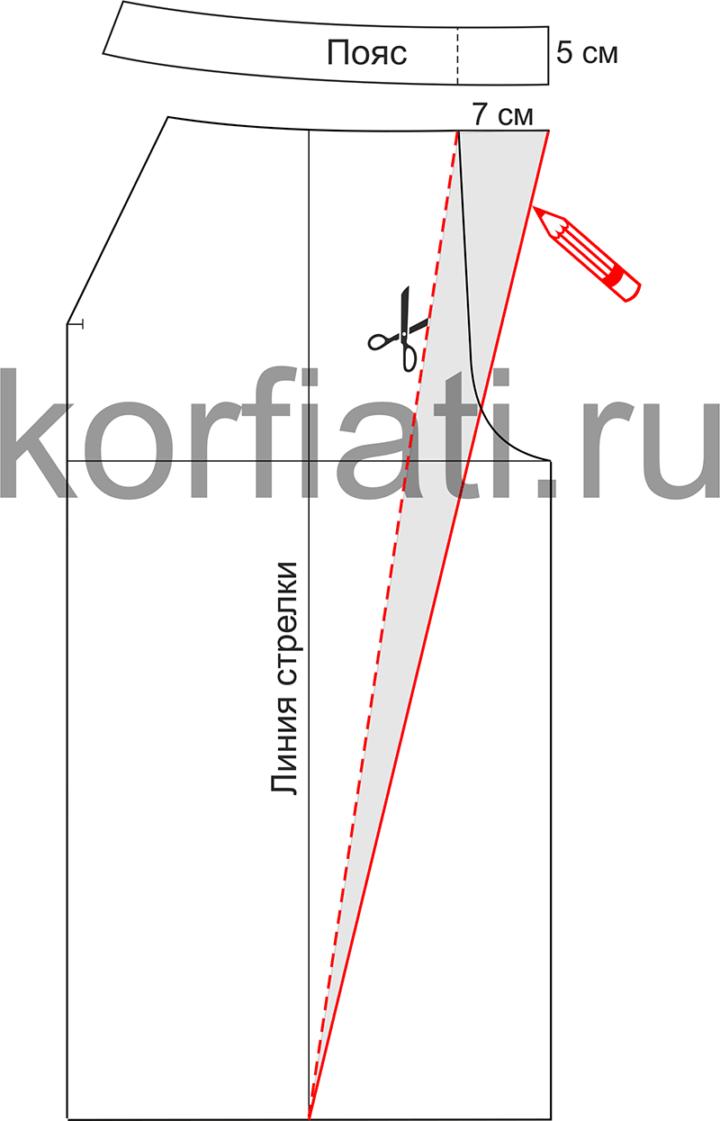Выкройка прямых брюк со складкой - моделирование правого полотнища