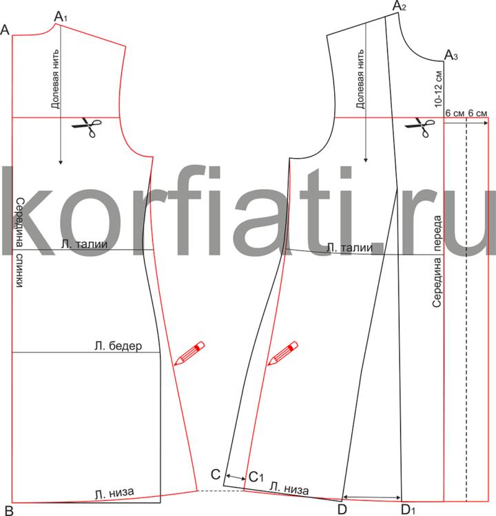 Моделирование выкройки спинки и переда платья со встречной складкой