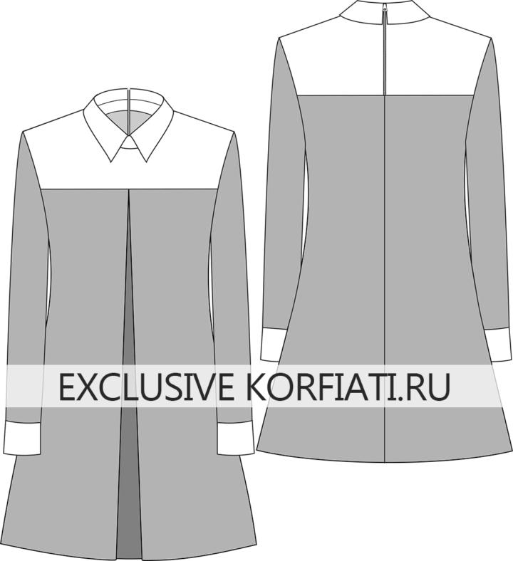Выкройка платья со встречной складкой - эскиз модели