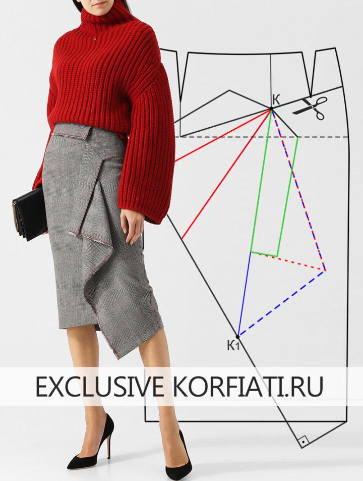 Выкройка теплой юбки из шерсти