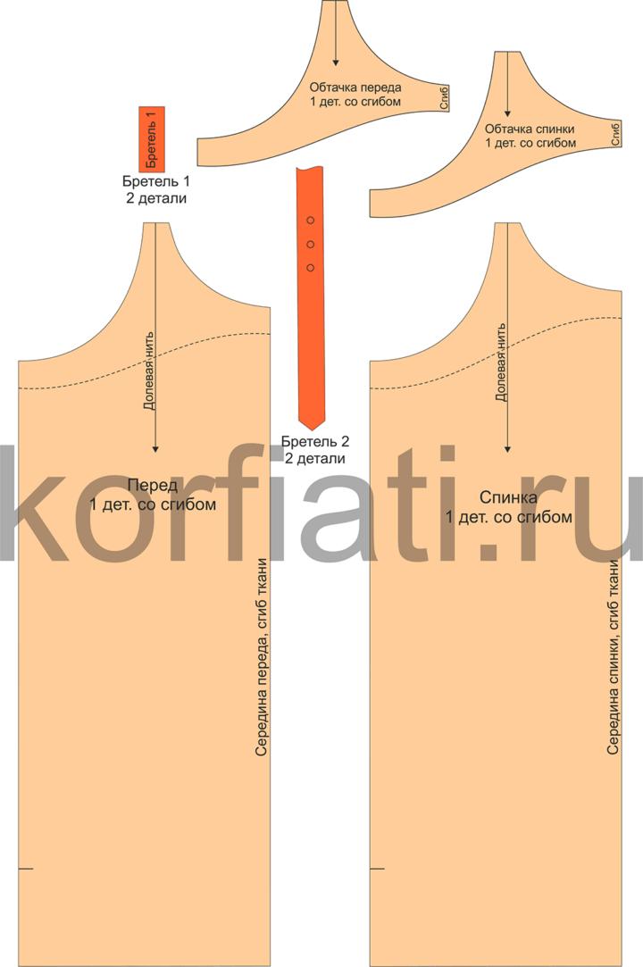 Выкройка теплого сарафана - детали кроя