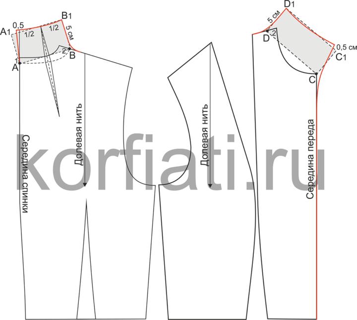 Моделирование выкройки высокого цельнокроеного воротника-стойки