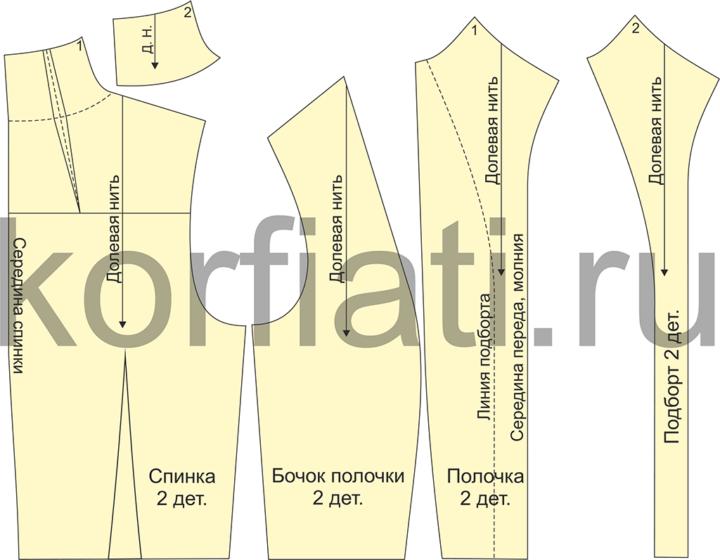 Детали кроя лифа жакета с высоким цельнокроеным воротником-стойкой