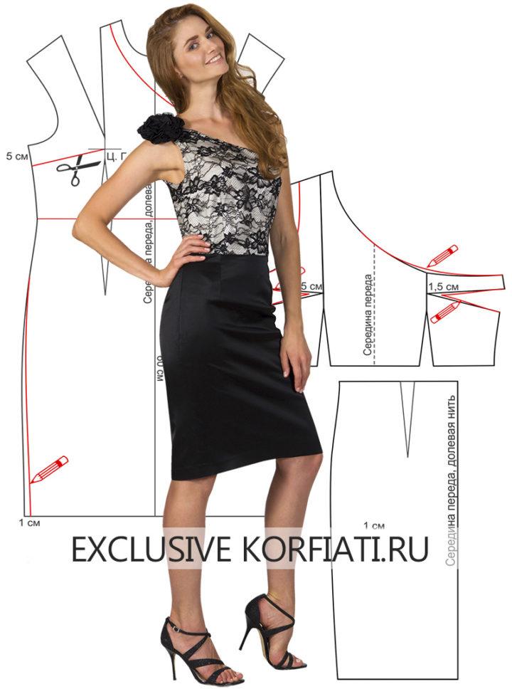 Выкройка платья с прямой юбкой - фото модели