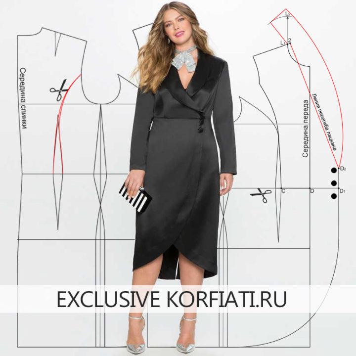 Выкройка платья с воротником шалькой - фото модели