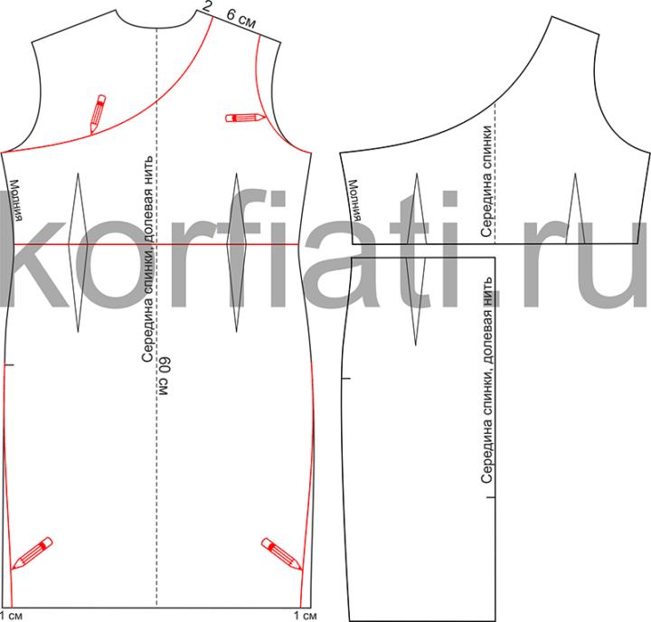 Моделирование выкройки платья с прямой юбкой - спинка