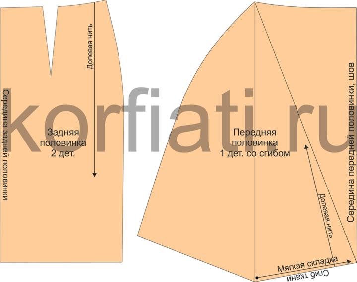 Детали кроя юбки с драпировкой качели