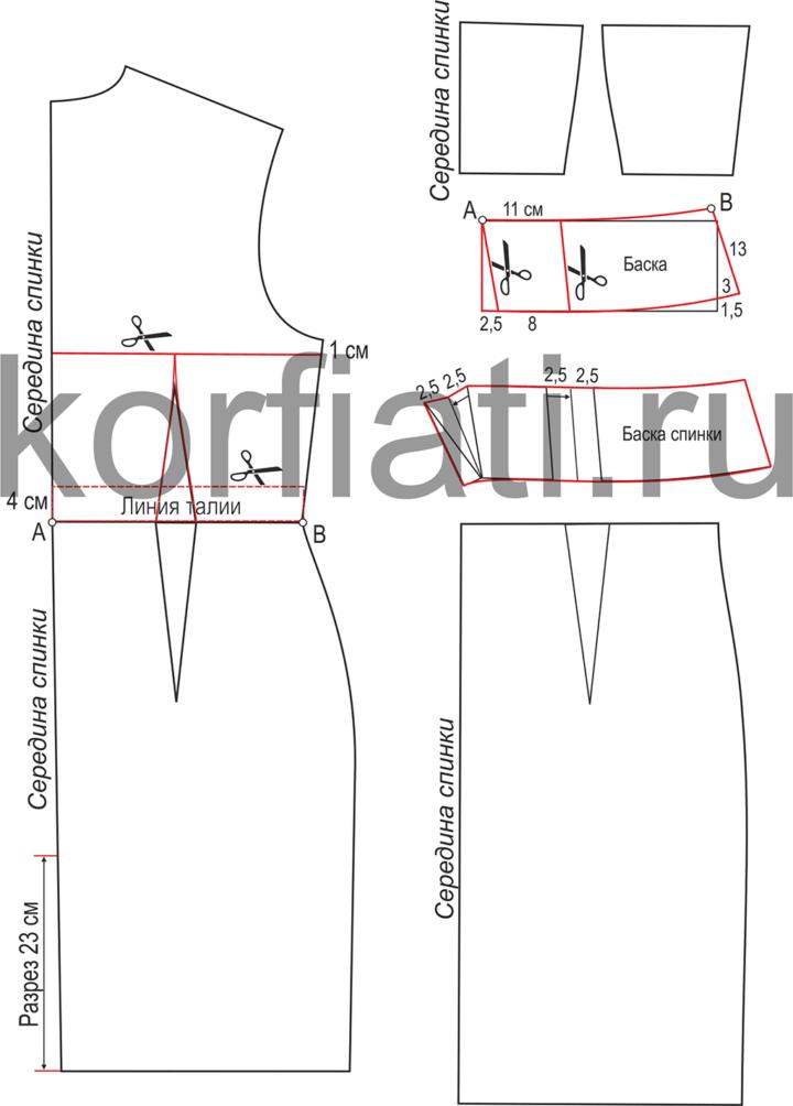 Выкройка облегающего платья - моделирование спинки