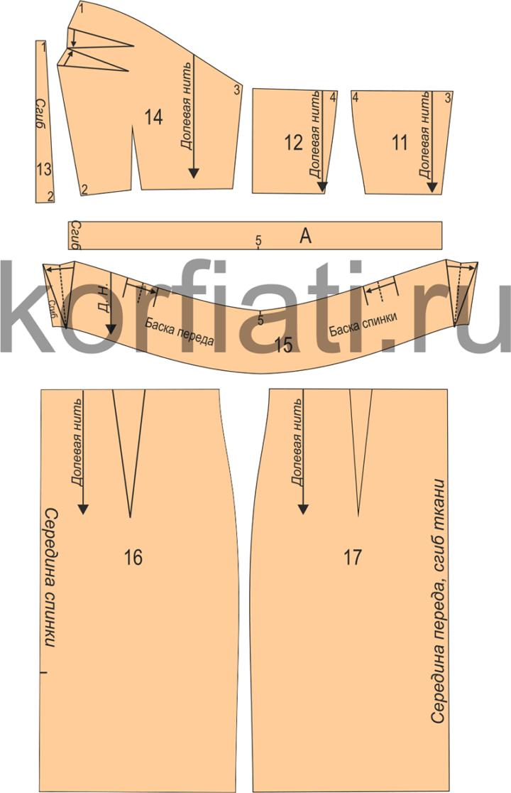 Детали кроя облегающего платья корсажного типа