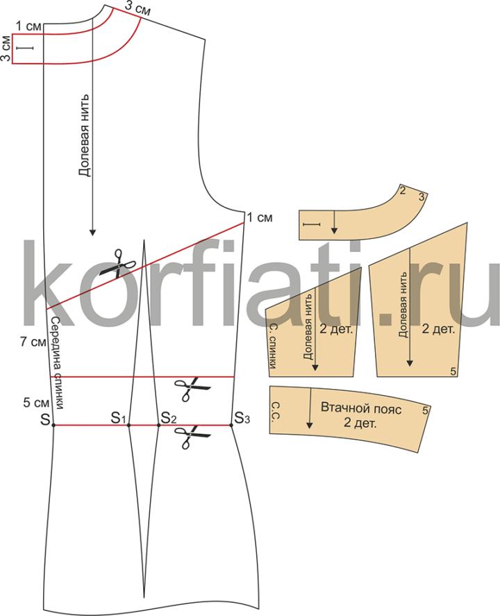 Выкройка блузки с открытой спиной - детали кроя спинки