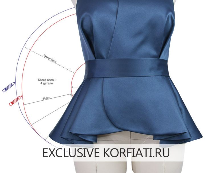 Моделирование выкройки блузки с открытой спиной