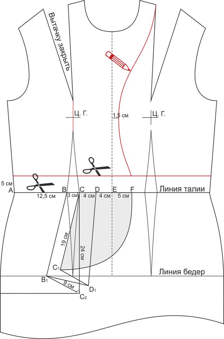 Выкройка блузки с открытой спиной - моделирование лифа полочки