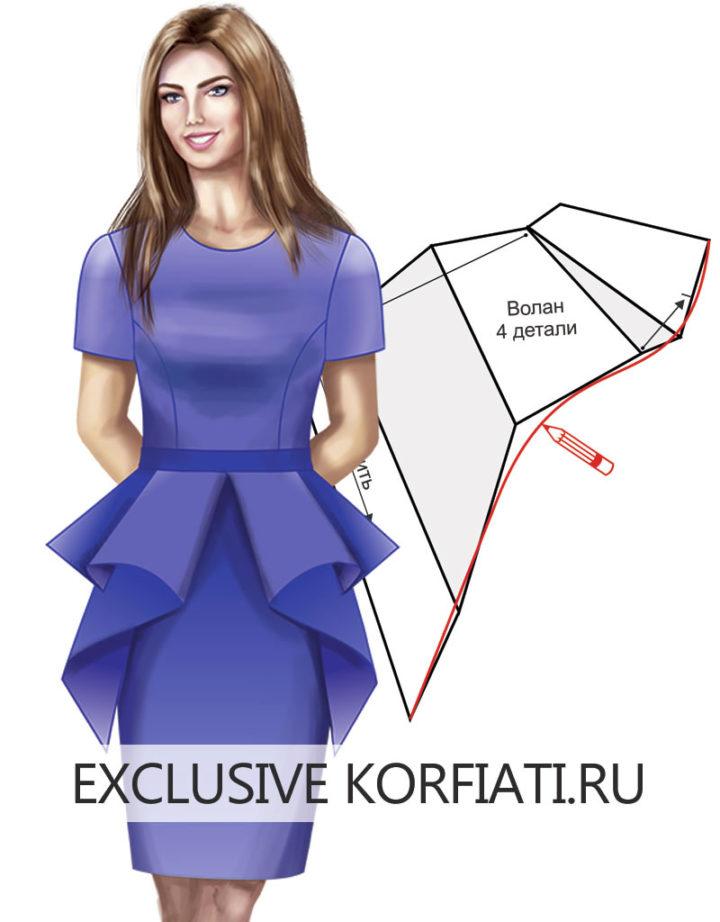 Детали платья - баска со складками