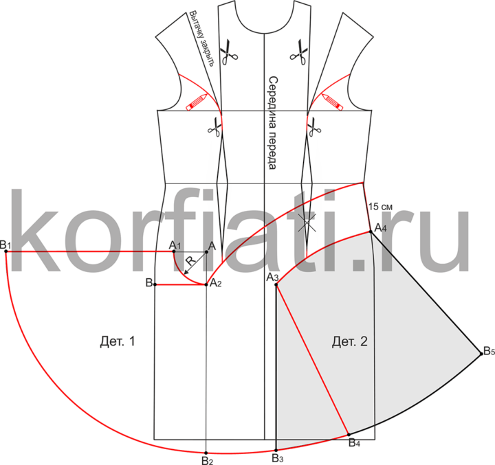 Моделирование переда платья с рельефными швами