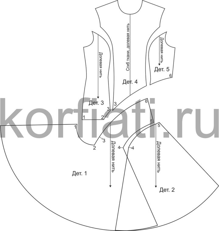Детали платья с рельефами - перед