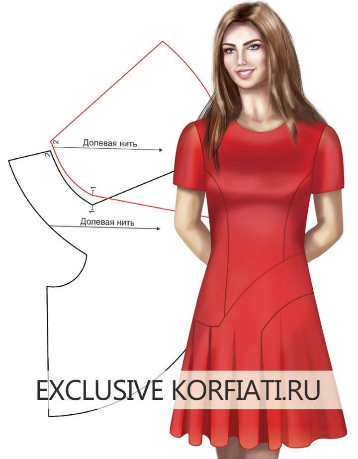Детали платья - моделирование оригинальных рельефов - эскиз