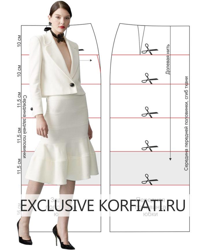 Моделирование прямой юбки с воланом