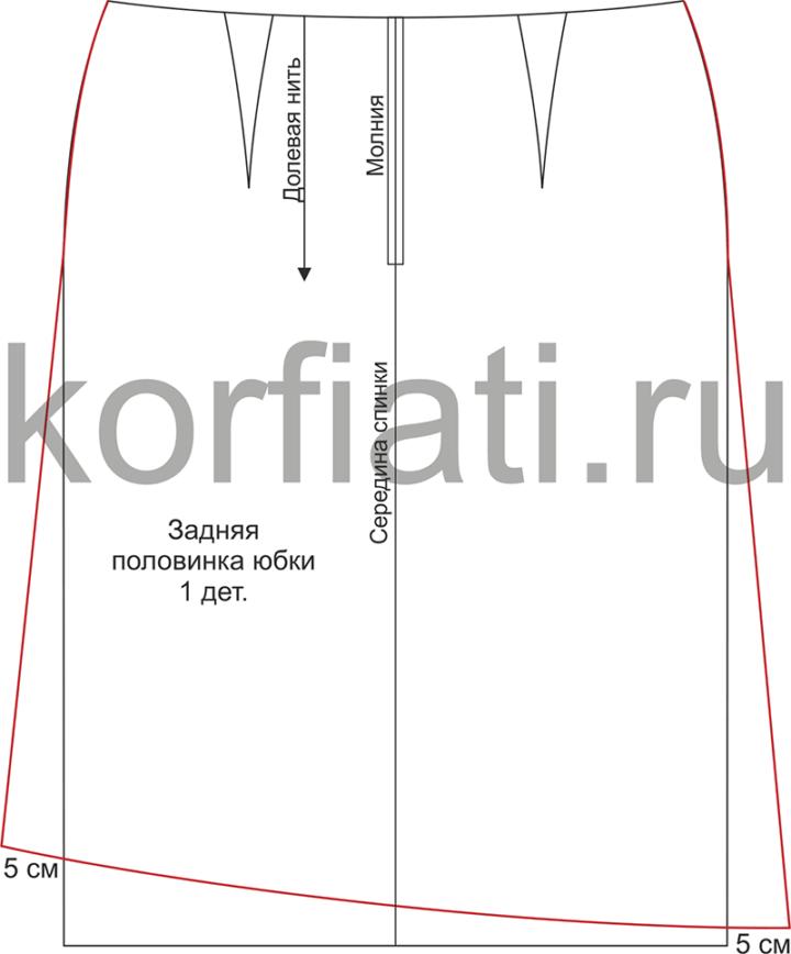 Выкройка шерстяной юбки - моделирование заднего полотнища