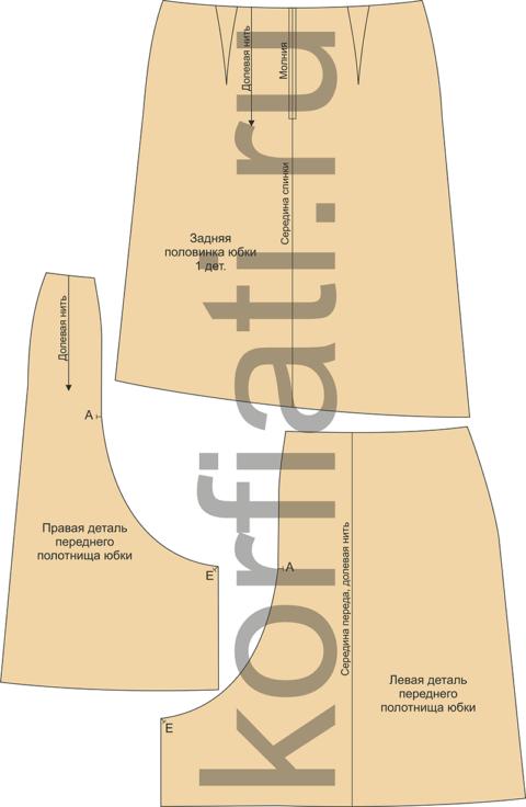 Выкройка шерстяной юбки - детали