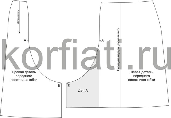 Выкройка шерстяной юбки - детали переднего полотнища
