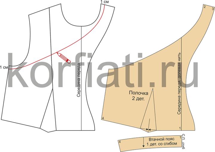Моделирование проймы и детали кроя полочки