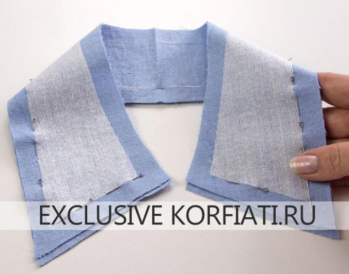 Обработка воротника женской рубашки