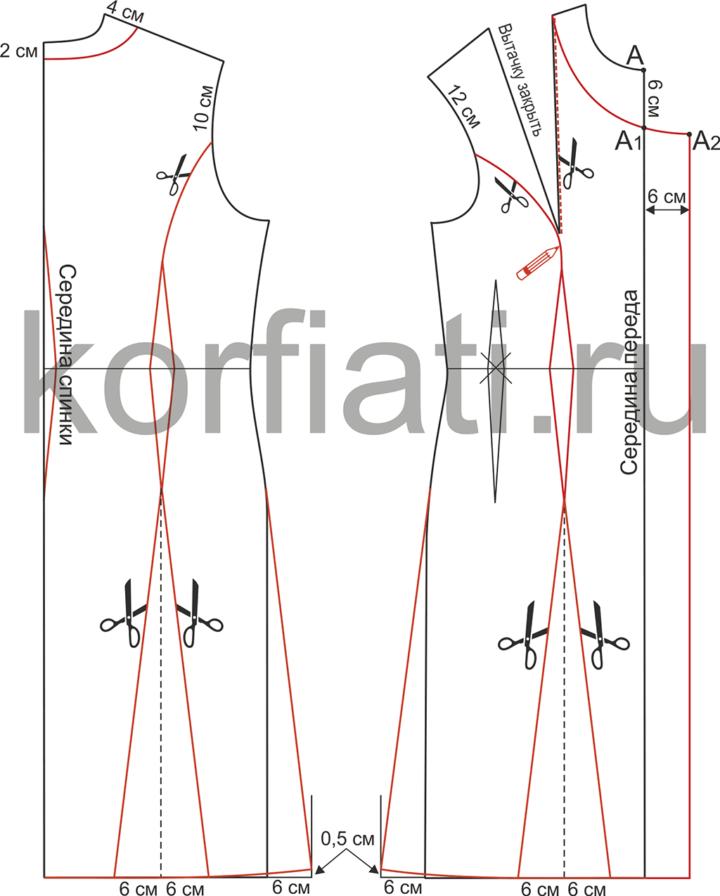 Моделирование выкройки двубортного платья