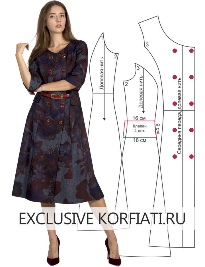 Выкройка классического двубортного платья