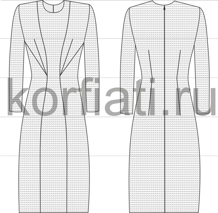 Эскиз модели платья с вытачками