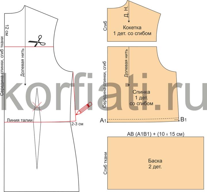 Моделирование спинки блузки с длинными рукавами