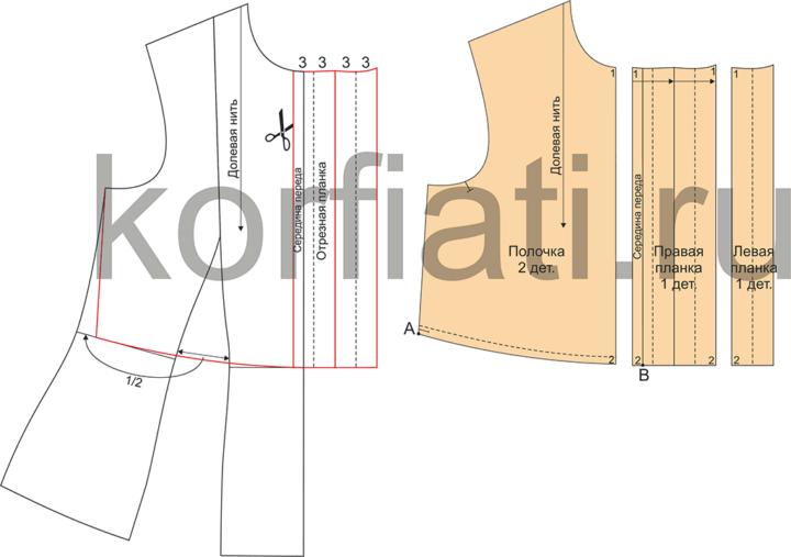Выкройка блузки длинными рукавами