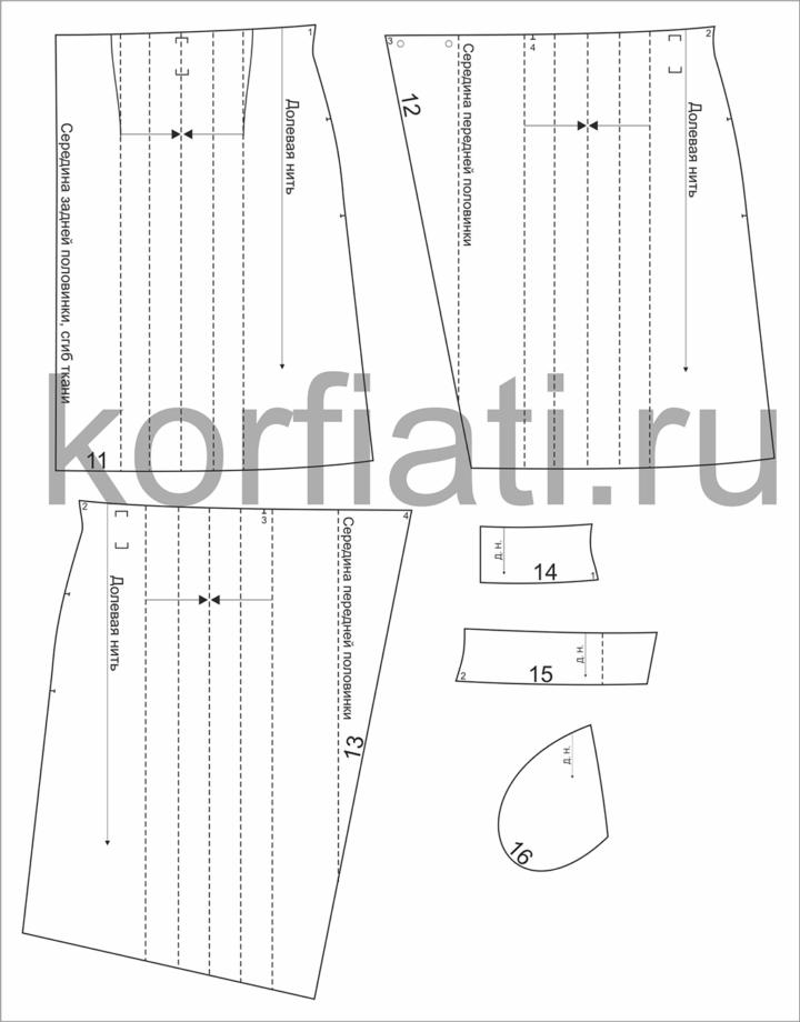 Детали кроя юбки с запахом на 5 размеров