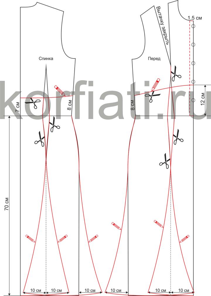 Моделирование выкройки спинки и переда платья с воротником на стойке