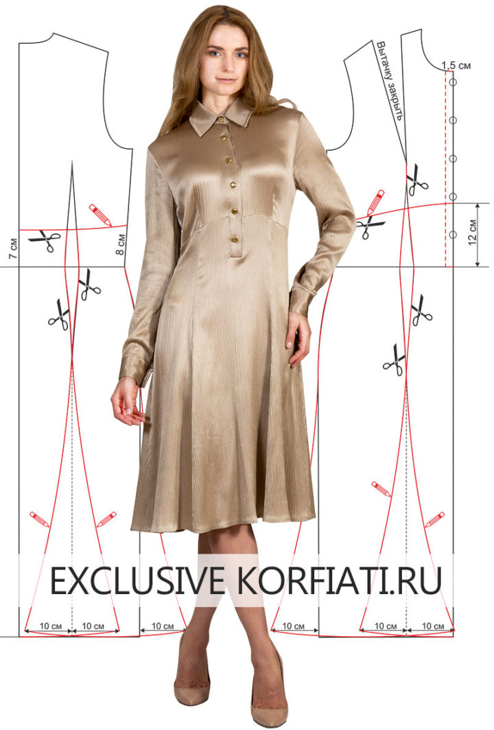 Выкройка платья с воротником на стойке - фото модели