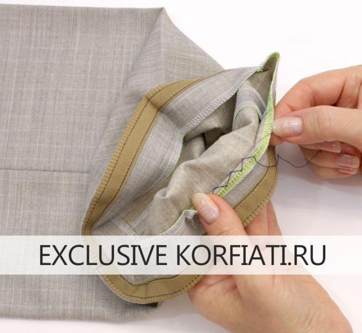 Подгиб припусков брюк с репсовой лентой