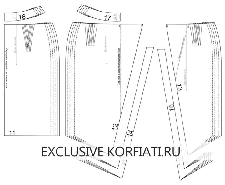 Детали выкройки асимметричной юбки с запахом