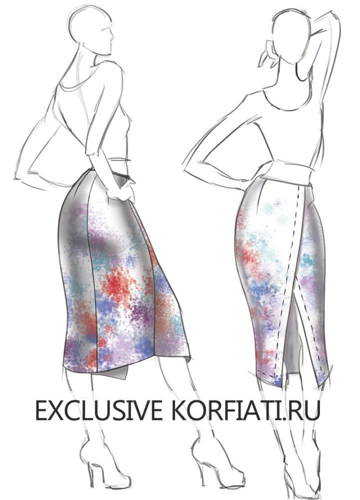 Эскиз асимметричной юбки с запахом