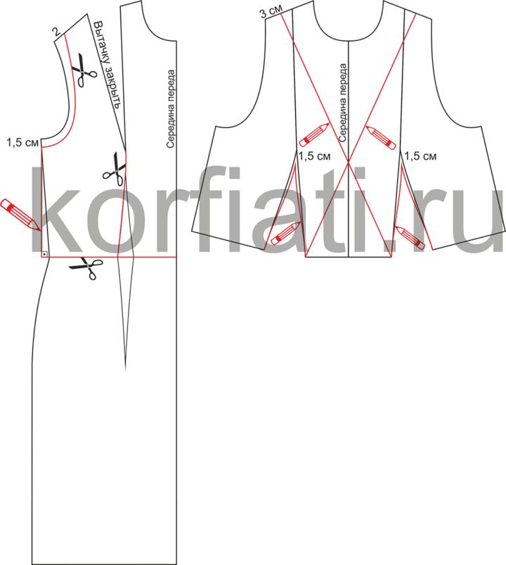 Моделирование лифа переда платья без застежки