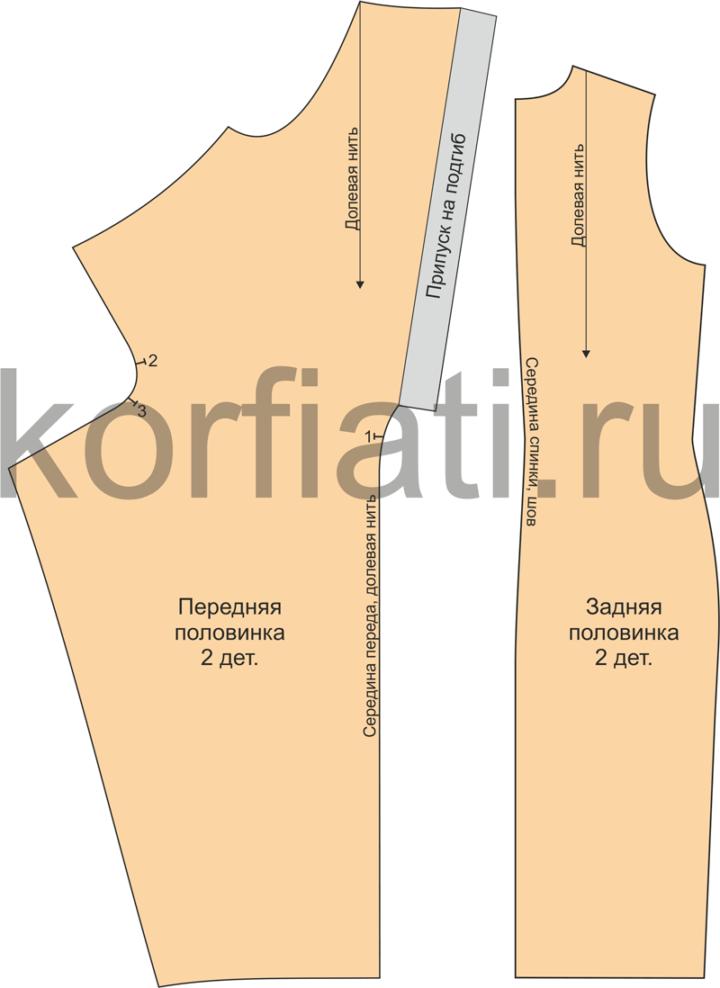 Детали кроя платья драпировкой по талии