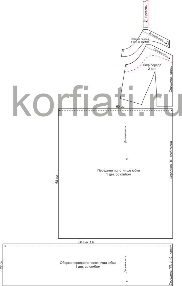 Выкройка сарафана в полоску - детали кроя переда