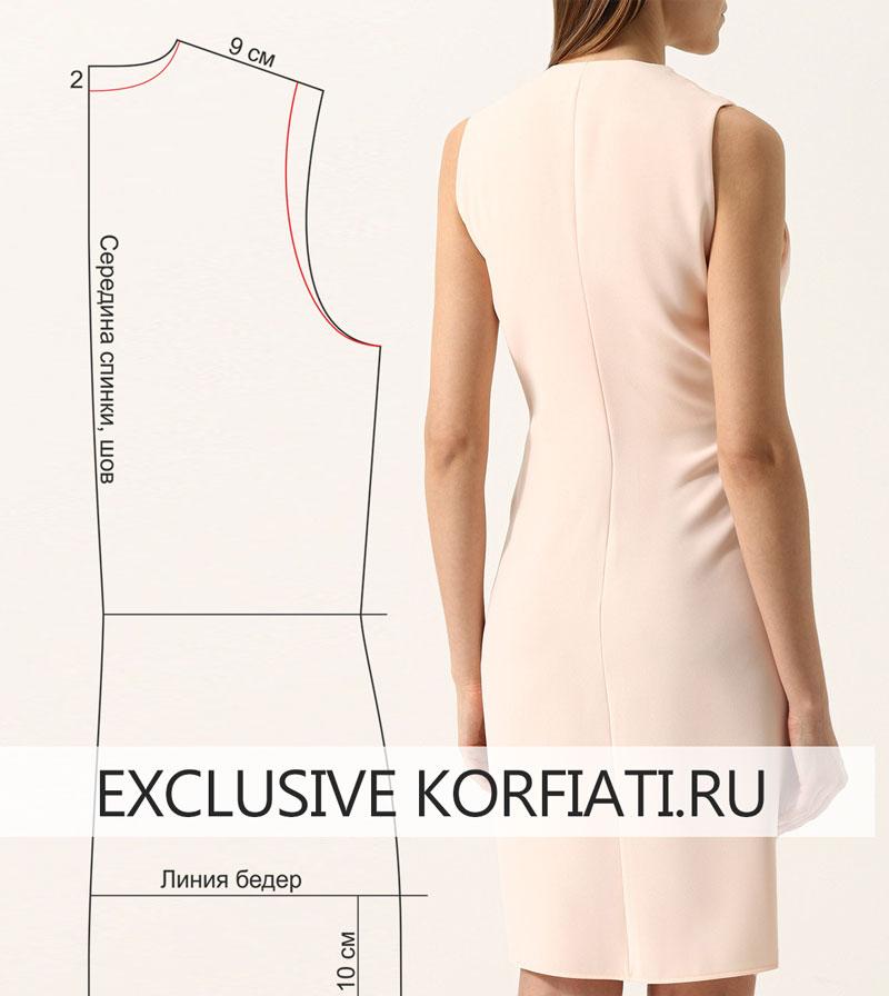 Моделируем выкройку платья с перекрученной драпировкой узел