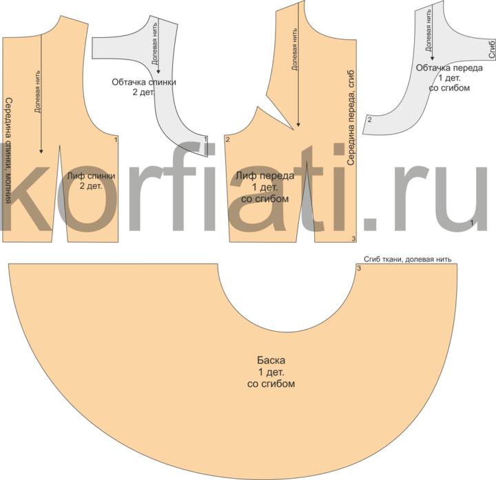 Простая выкройка блузки-топа - детали кроя