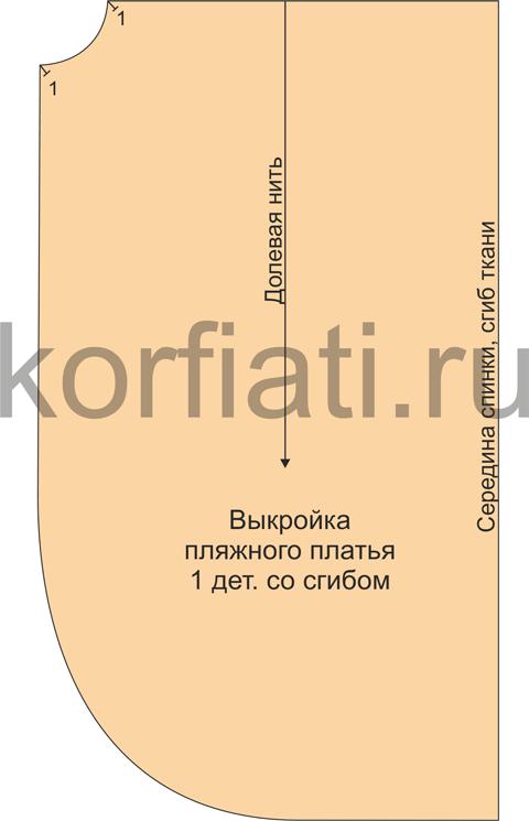 Выкройка пляжного платья с запахом - деталь кроя