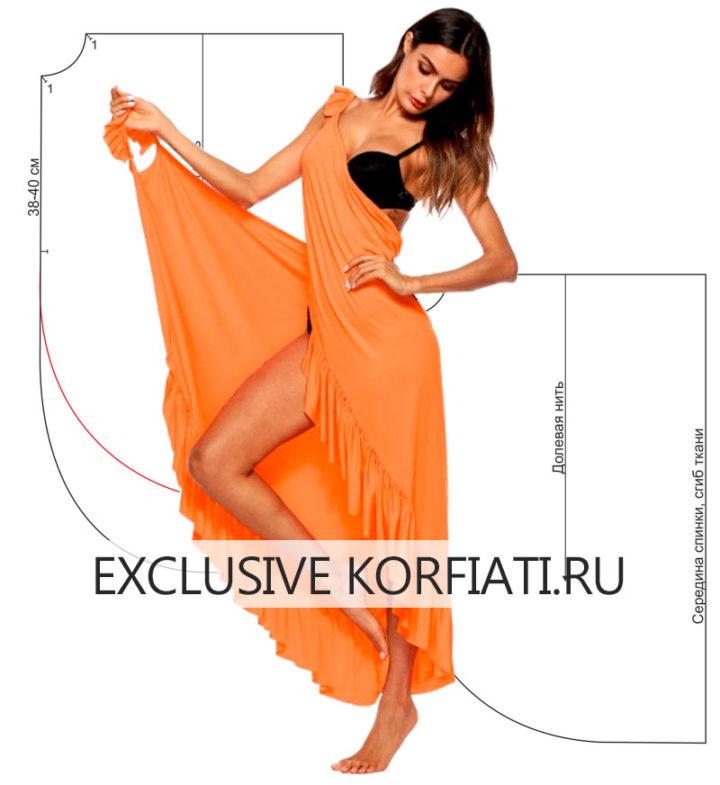 Пляжное платье с оборкой