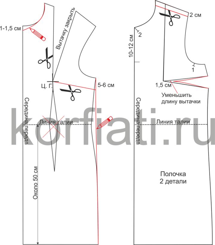 Моделирование полочки платья с воротником аскот